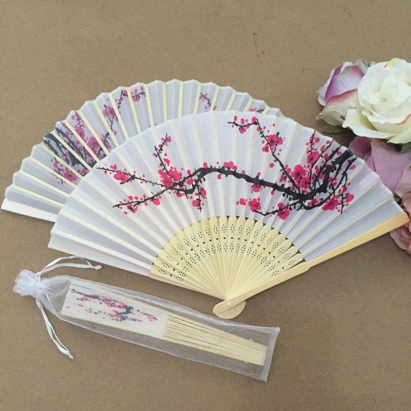 Wholesale Plum flower design Elegant Folding Silk Hand Fan with Organza Gift bag Wedding Favor gift