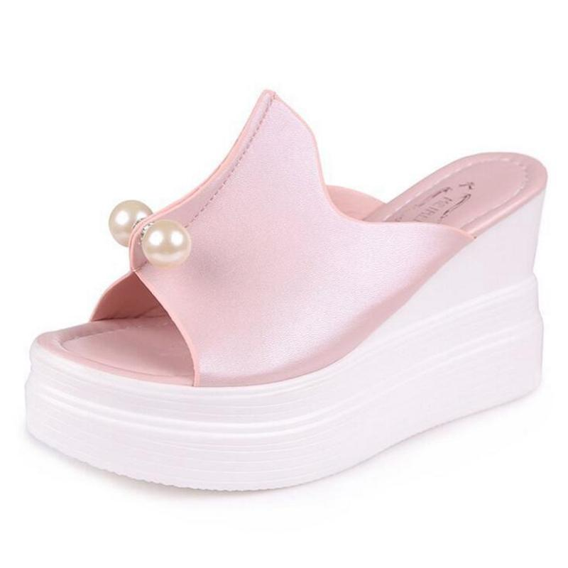 7211819592c9 Women Sandals Thick Heel Platform Wedges Sandals Sexy Beading Slippers  Exposed Toe Fish Mouth Non Slip Shoes 2018 Summer New Fast Delivery Designer  Shoes ...