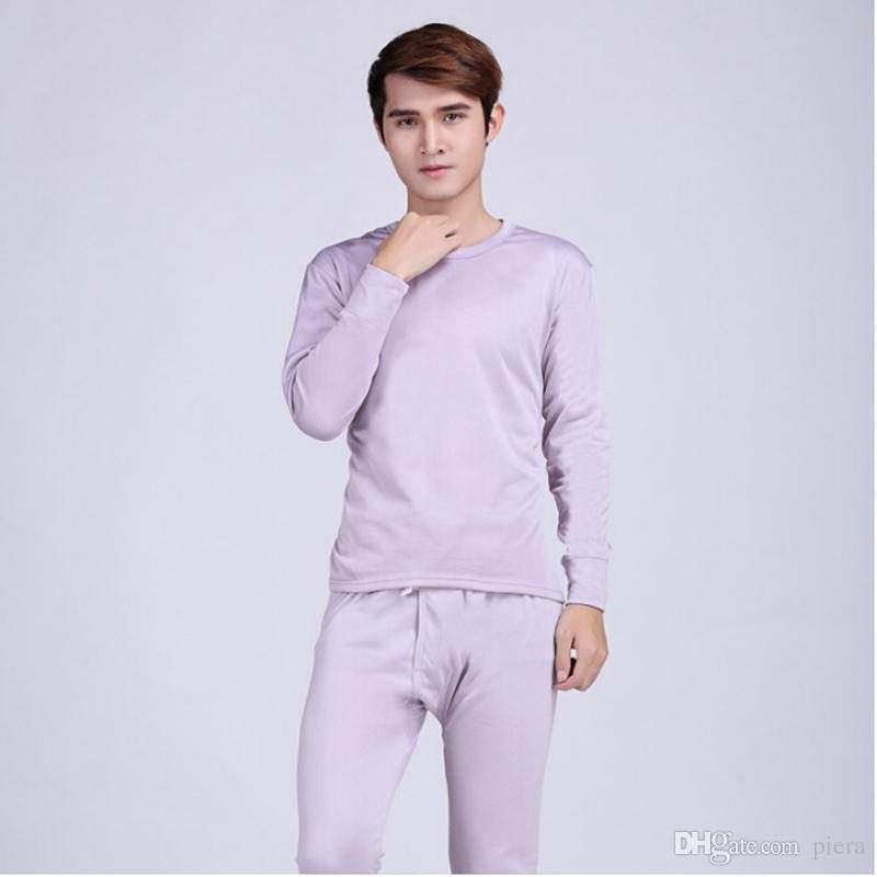 45a95f46f0b0 Hot Sale Mens Silk Thermal Underwear Set Round Neck Cotton Thick ...