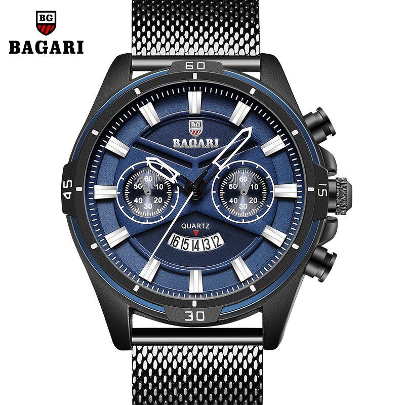 eb678dd0af72 Compre Relojes Para Hombre Bagari Marca Deportiva Hombre Relojes De Cuarzo  De Acero Inoxidable Correa De Malla Impermeable Calendario Relojes De Hombre  Azul ...