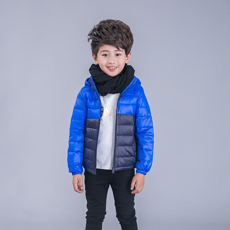 Children's jackets for boys girls 90% white duck down patchwork style fashion warm hooded coat kids outerwear snowsuit 2017 new