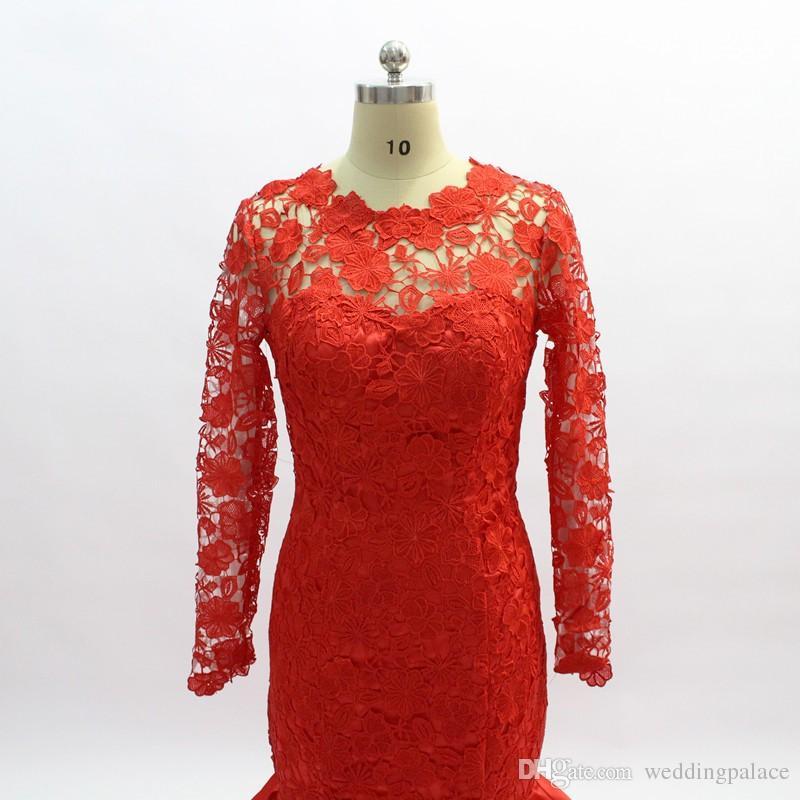 O-cou rouge à manches longues robes de soirée sirène chapelle train dentelle Robes Volants de soirée Robes de bal Robe De Noche 2018