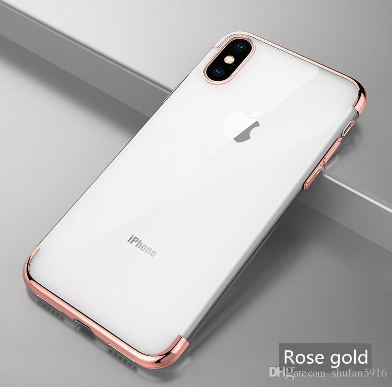 For iPhone X Xr Xs Max Luxury Plating Soft Clear TPU Colorful Silicone Back Transparent Gel Cover Phone Case For iPhone 8 7 6S Plus