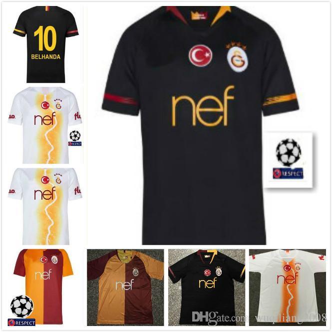 best cheap 91ee7 a4c0f 18 19 Galatasaray Third Away Champions League soccer Jerseys 89 FEGHOULI 10  BELHANDA GOMIS home 2018 jersey football shirts