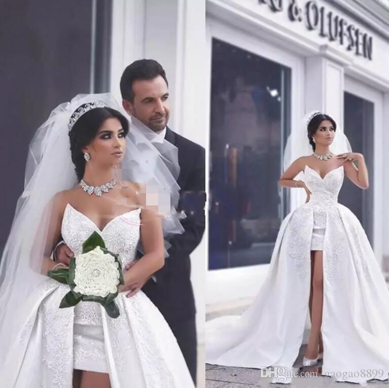 Said Mhamad 2019 A Line Satin Lace Wedding Dresses with Detachable Train Puffy Bridal Gowns Saudi Arabic Dubai Short Wedding Gowns