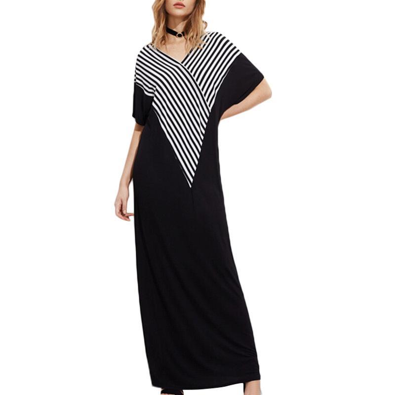 f8044a580a3 Fashion Loose Striped Maxi Dress Women V Neck Short Sleeve Side Pockets  Summer Autumn Casual Plus Size Long Dress Womens Long T Shirt Dress Casual  White ...