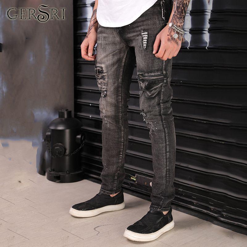 bb1e4ecafe0 Gersri Men Jeans Fashion Hole Destroyed Mens Jeans Ripped Zipper Slim Denim  Straight Biker Skinny Men Jeans Cheap Jeans Gersri Men Jeans Fashion Hole  ...