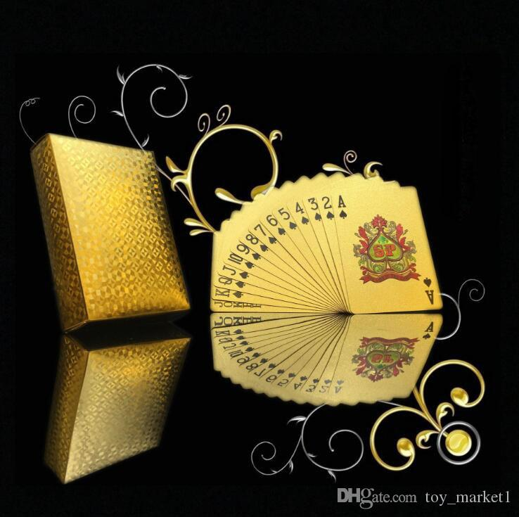 Original Waterproof Luxury Gold Foil Plated Poker Premium Matte Plastic Board Games Playing Cards For Gift Collection