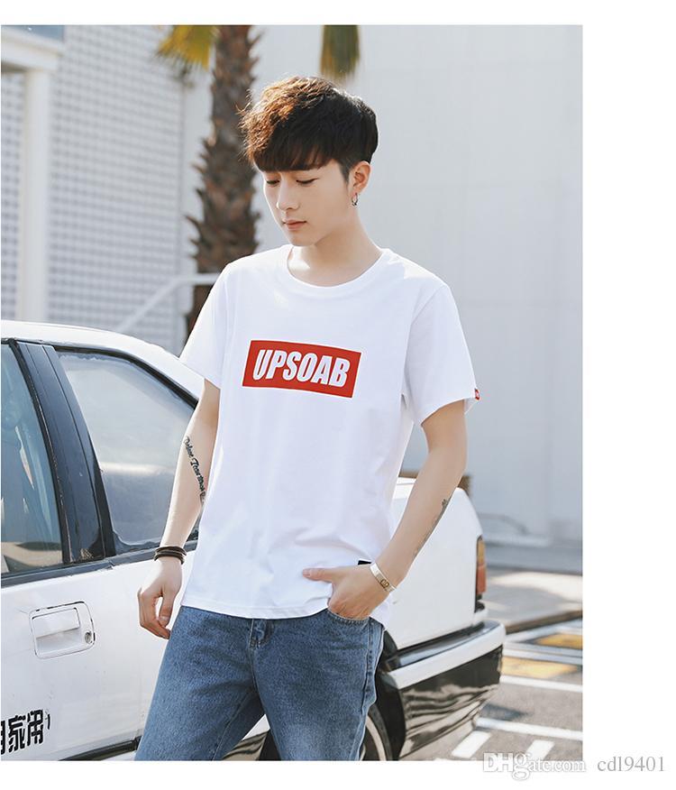 Japanese Men Harajuku Style Wind Couples Korean Short-sleeved White T-shirt Slim Personality Simple Shirt Tide Tide