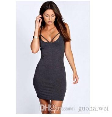 Moda yeni varış kadın giyim Seksi Lady O-Boyun Katı Slim Fit Bodycon Tank Elbise elbise gri