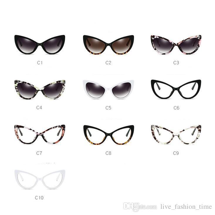 Hohe Qualität 2018 FLT33 Cateye Sonnenbrillen Frauen Markendesigner Sonnenbrille Vintage Brillen Womens Print Rahmen Cat Eye Sonnenbrille 65mm 45mm
