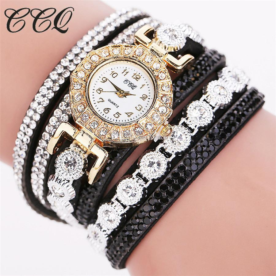 Armbanduhren Frauen CCQ Silber Voll Kristall Kleid Armbanduhr Damen Dress Watch Luxus Quarz Vintage Uhr Relogio