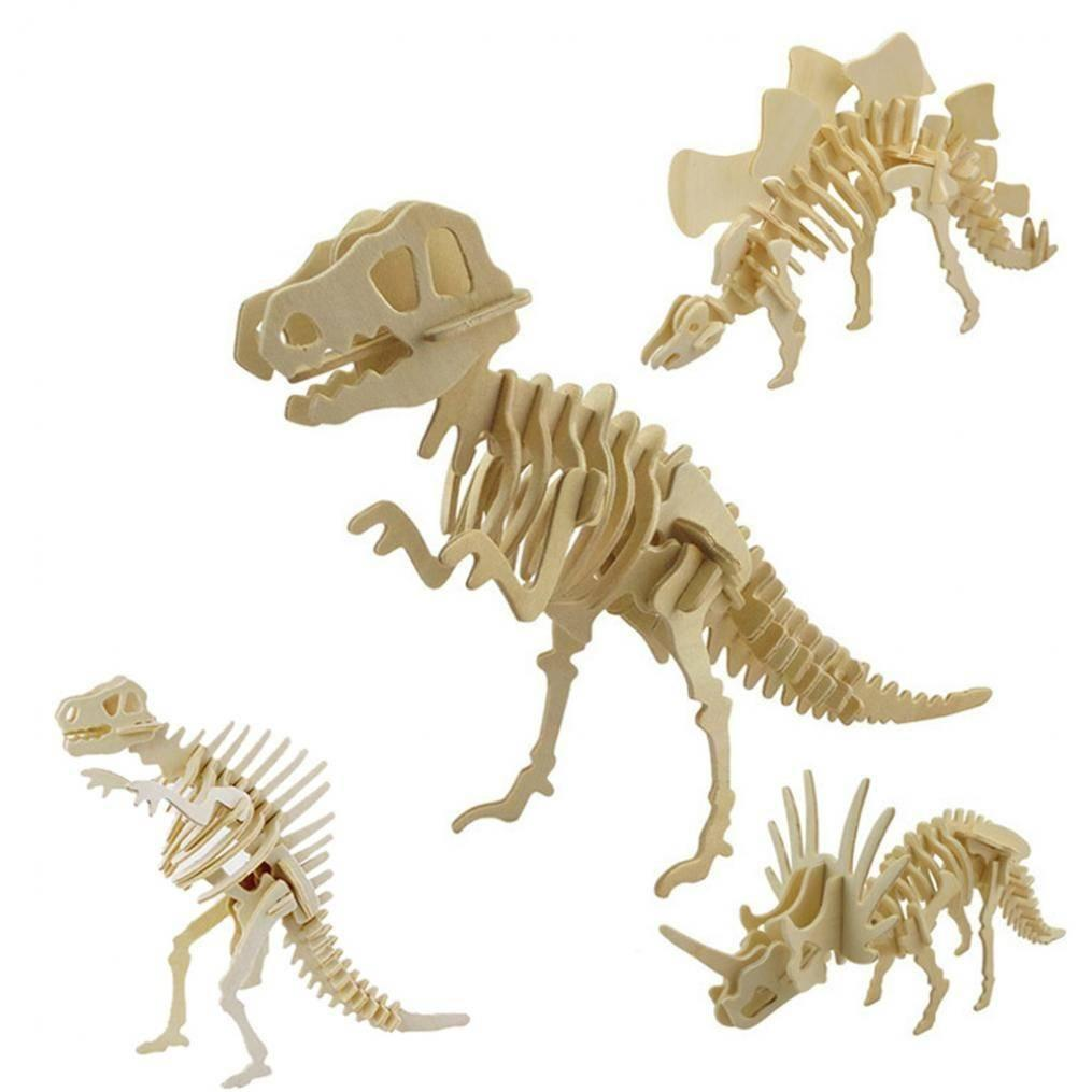 6 sets Children 3D Dinosaur Wooden Puzzles Toy DIY Assembly Model 6  Patterns Dinosaur Skeleton Shape Educational Toy