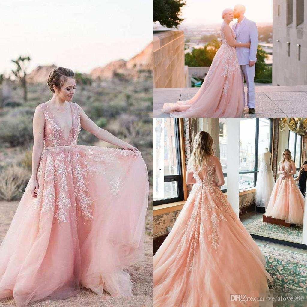 b85449c84177 Discount 2018 Blush Pink Beach Wedding Dresses With Sexy Backless Deep V  Neck Beads Lace Appliques Country Garden Bridal Gowns Customed Wedding Gowns  Uk ...