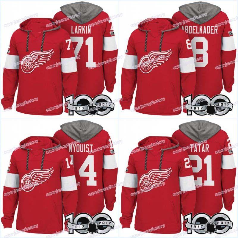dc8f577d1e1 2019 Men 100th Detroit Red Wings Jerseys 8 Justin Abdelkader 9 Gordie Howe  14 Gustav Nyquist 21 Tomas Tatar Hoodies Jerseys Sweatshirts From  Michaelwen2008