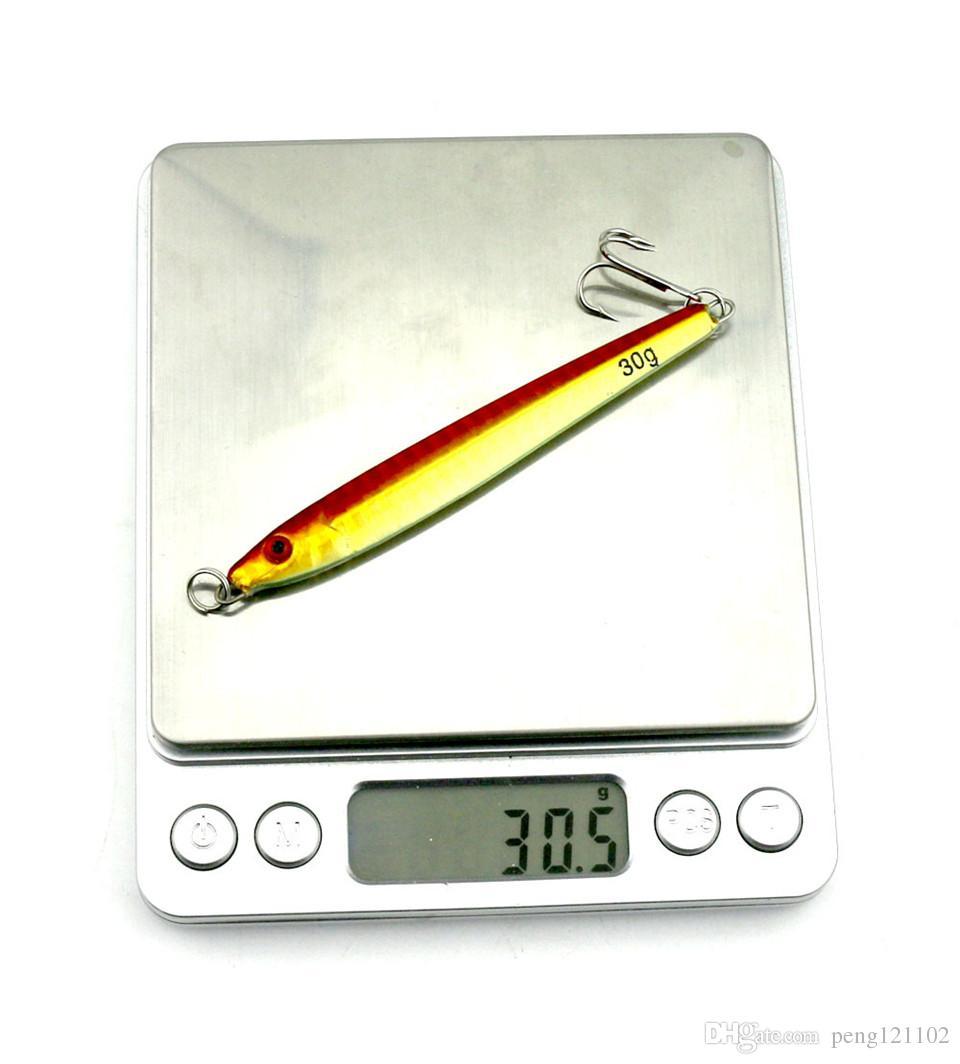 الجملة 5 قطع جودة الليزر المعادن تهزهز إغراء 30 جرام التريبل هوك 9.2 سنتيمتر متعدد الألوان المعدنية القفز الصيد السحر المالحة