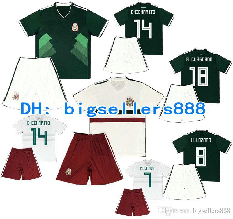CHICHARITO 2018 World Cup Kids Mexico Home Green Soccer Jersey Kits  H.LOSANO R.JIMENEZ G DOS SANTOS M.LAYUN White Away Child Football Shirt UK  2019 From ... baf30d062