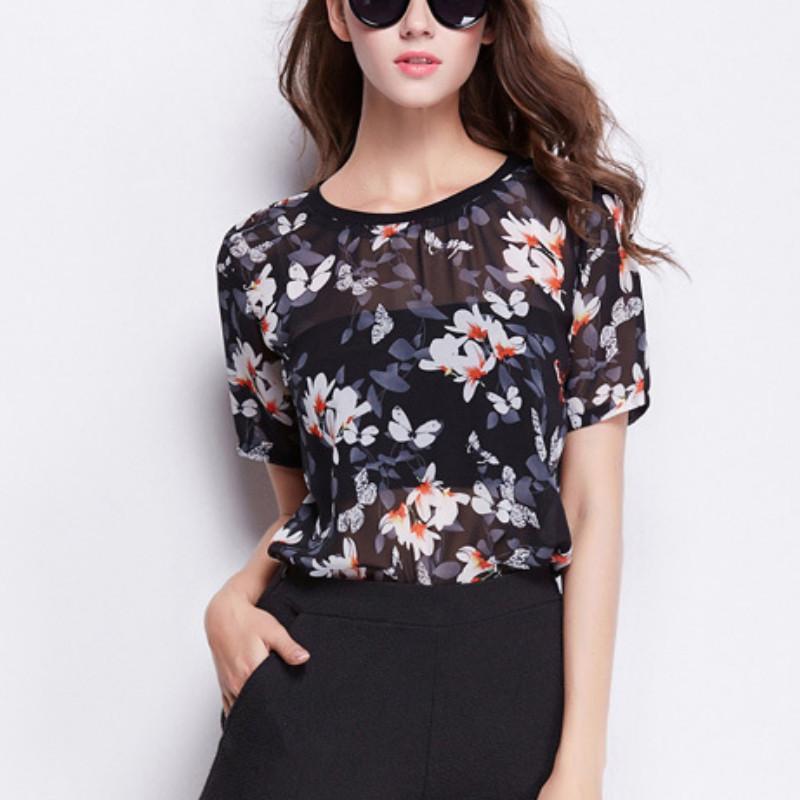73ba34c32c8d Moda mujer manga corta camisas de gasa 2018 flores de mariposa impresión  mujer ropa Casual Blusas Ladies Tops