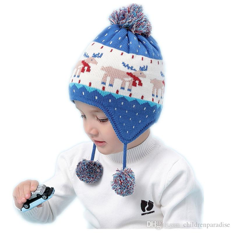 4068459a4192d 2019 Baby   Kids Boys Christmas Deer Print Knitted Casual Beanie Hats  Children Boy Fashion Autumn Winter Hat Caps From Childrenparadise