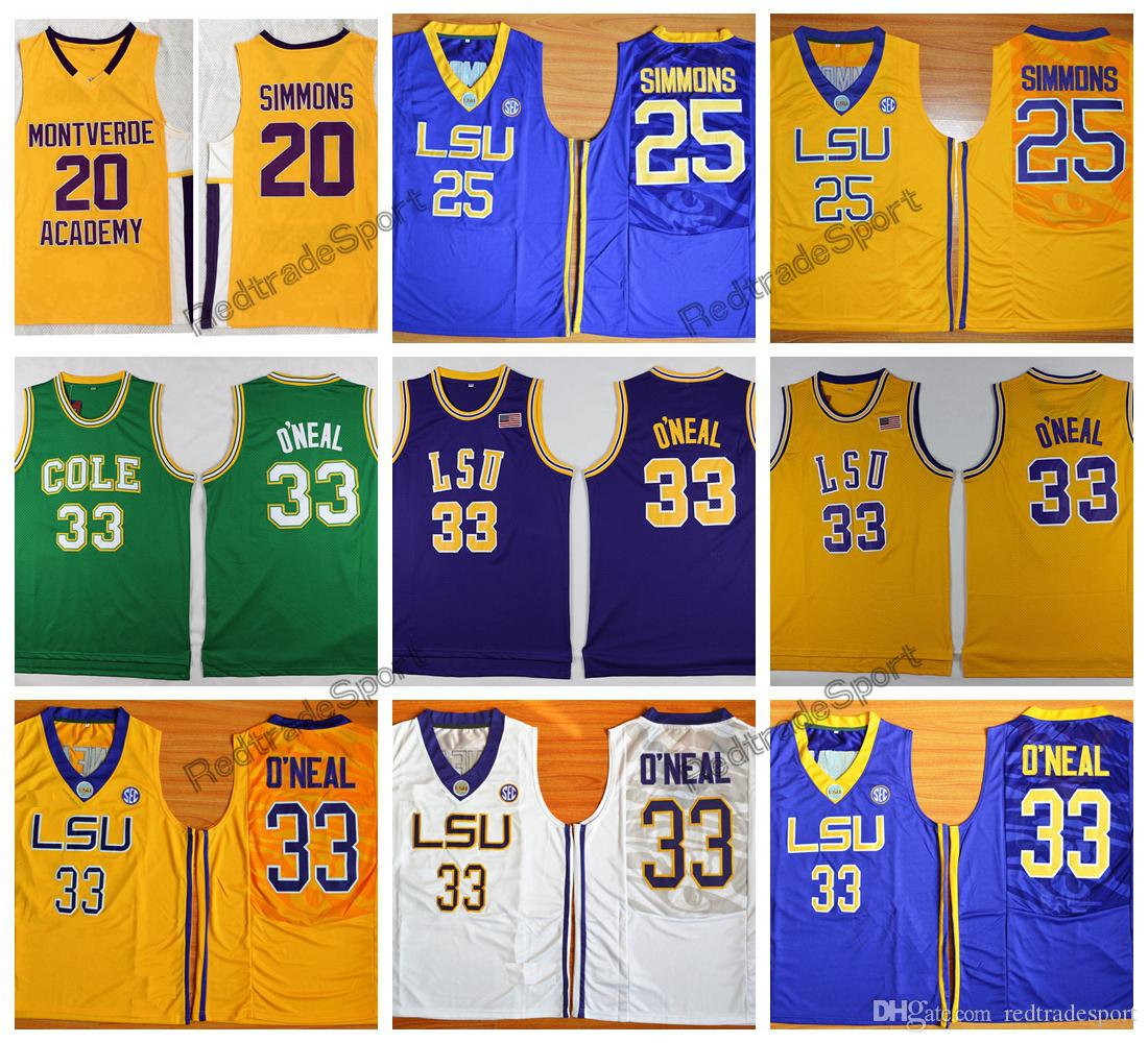 premium selection 070a8 de554 Mens LSU Tigers Ben Simmons 25 Shaquille O Neal 33 College Basketball  Jerseys Cheap Vintage Shaquille O Neal Stitched Basketball Shirts