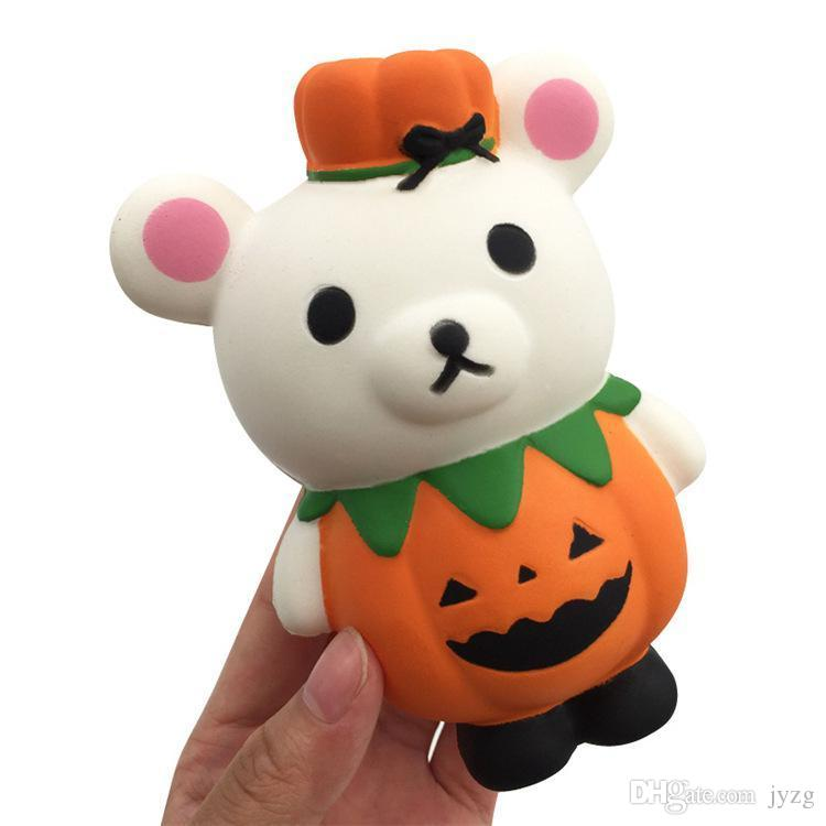 2018 halloween squishy 13cm pumpkin lovely bear squishy slow rising halloween squeeze decompression kids toy cartoon novelty toys from jyzg 232 dhgate