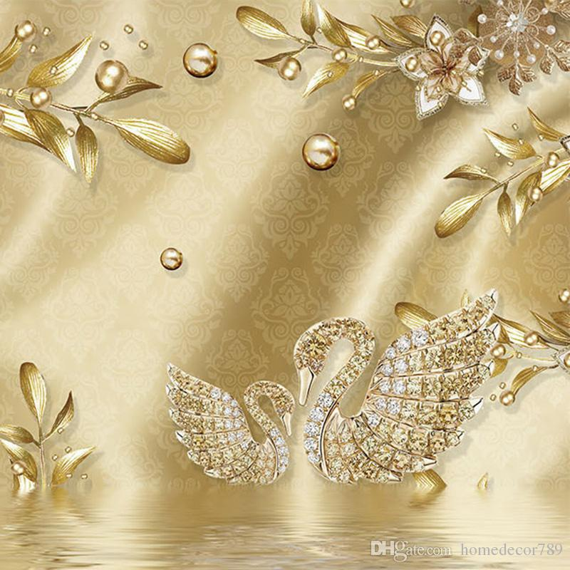 Европейский Стиль Роскошный Золотой 3D Цветок Ювелирных Изделий Дамаск Шаблон Фона Украшения Обои Для Гостиной Home Decor