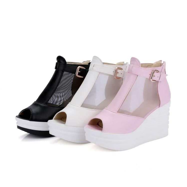 919a2f5e8b309 Lady High Heels Pumps PU Net Fish Mouth Waterproof Women Black White Pink Wedge  Shoes 33 43 Code 80mm Heel Direct Selling Pink Shoes Salt Water Sandals  From ...