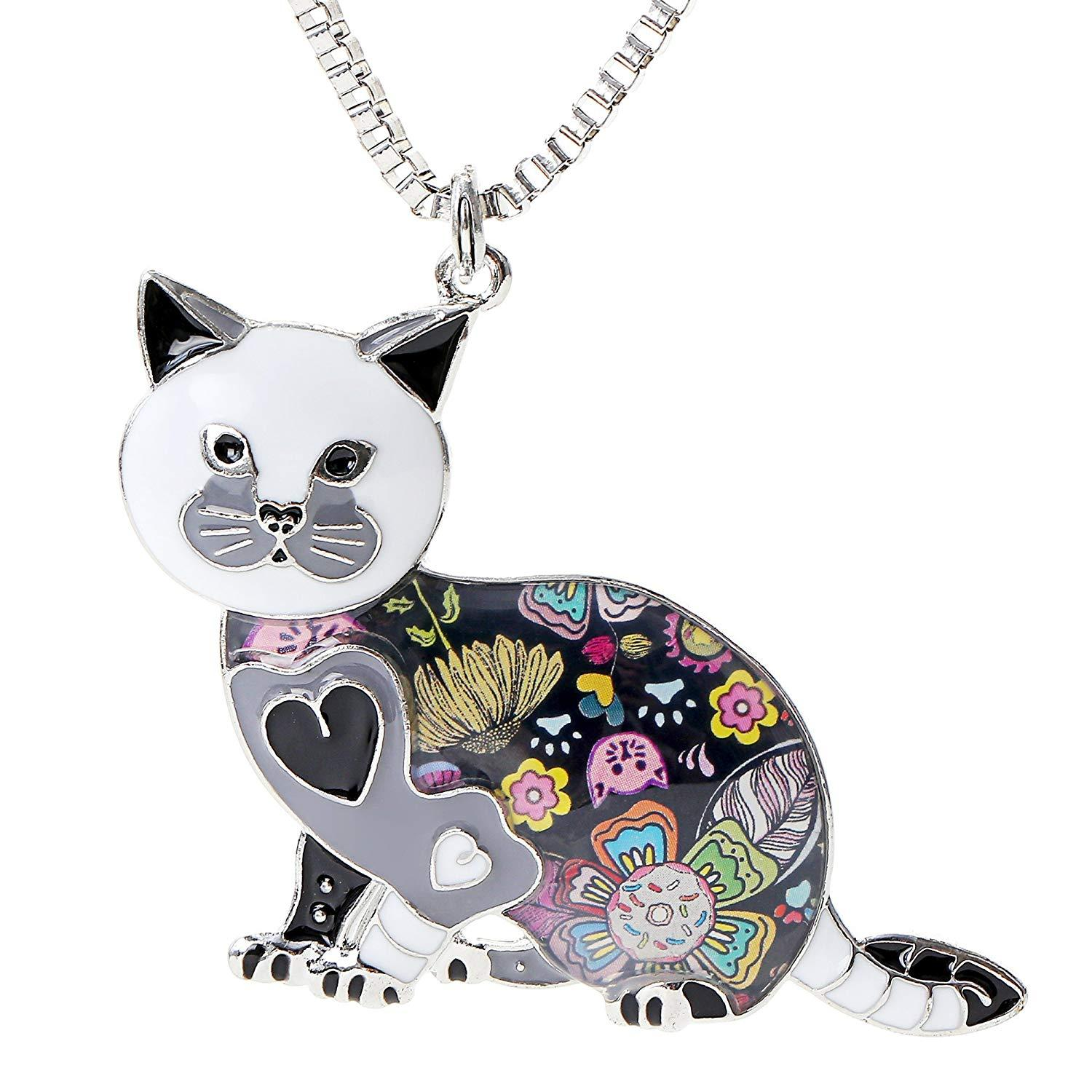 Valentine's Day Gifts Cute Cat Necklace Enamel Cartoon Cats Pendant Jewelry for Women Friends Can be Used as Bag Keychain