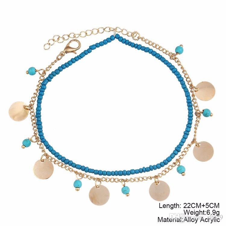 Europe And The United States Fashion Foot Jewelry Bohemian Blue Turquoise Beaded Round Beads Combination Anklet Wholesale