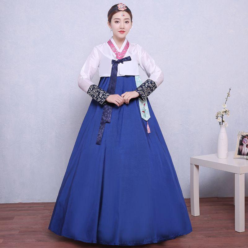 e149c0abb8880 2019 2018 Summer Woman Elegant Korean Traditional Costume Flower Print  Korea Dance Performance Clothing Female Hanbok Court Pincess From Mujing,  ...