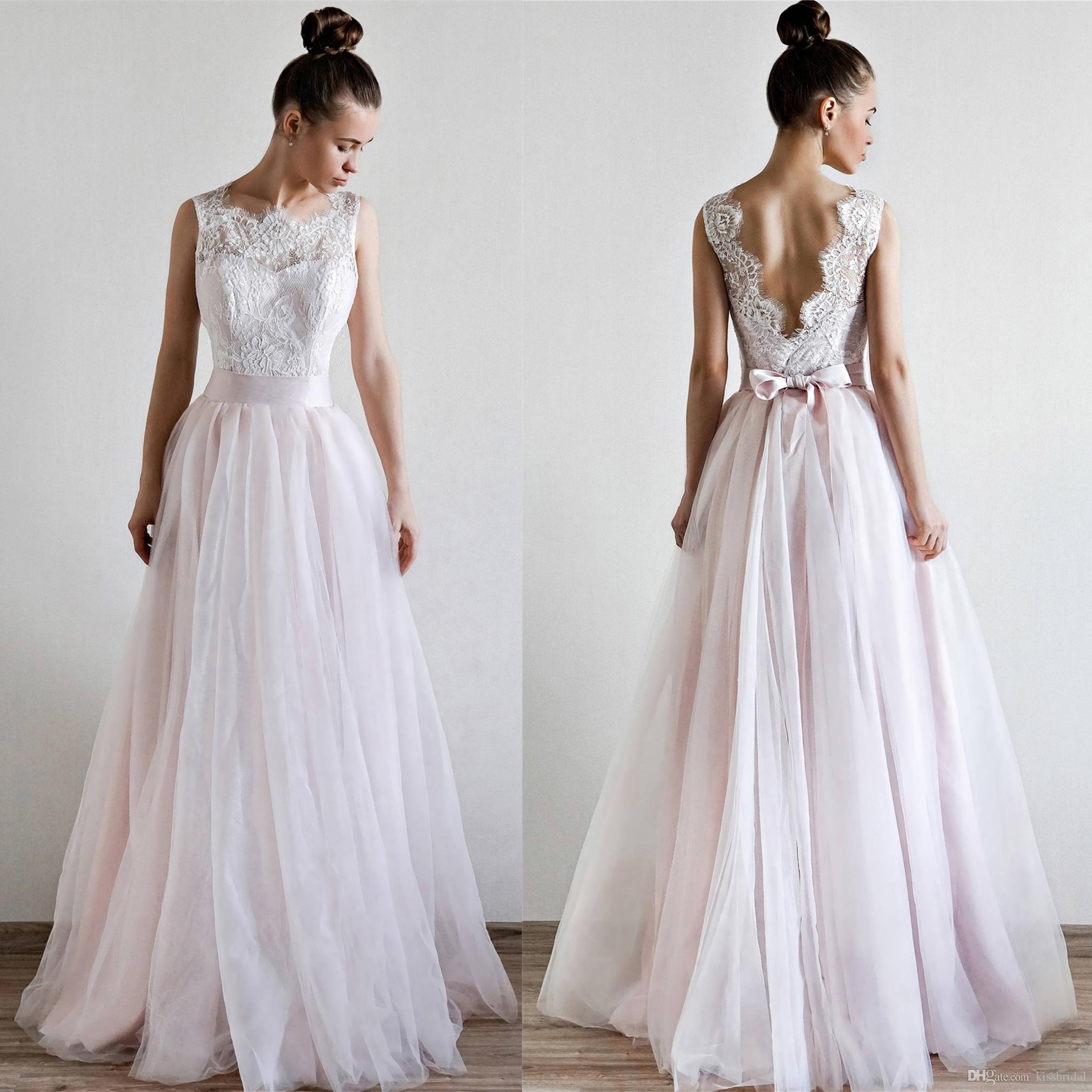 c1a65c1d59 Discount Lace Tulle Wedding Dresses 2019 Elegant A Line Backless Sash Bridal  Gowns Formal Dress For Bride Special Occasion Vestidos De Novia Ivory  Wedding ...