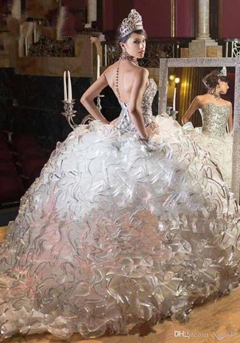 großhandel 2019 prinzessin kleid luxus quinceanera kleider ballkleid  organza perlen rüschen sexy backless spitze sweet 16 prom dress pageant  kleider