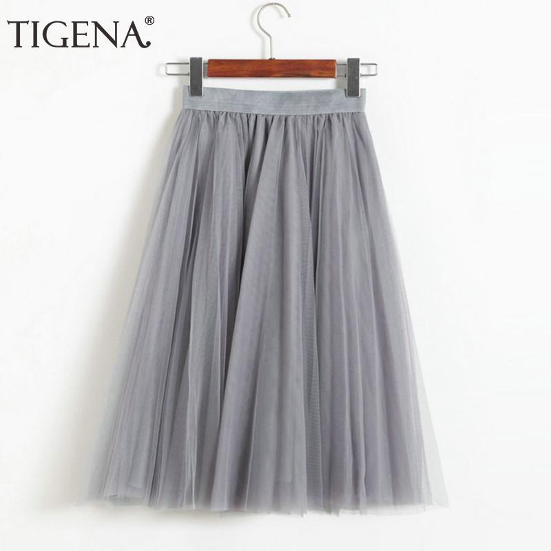 6e18dfdb70 Compre TIGENA 4 Capas Faldas De Tul Moda De Mujer 2018 Cintura Alta Plisada  Falda De Verano Falda Midi Tutú Femenino Sol Negro Rosa Blanco A  23.0 Del  ...