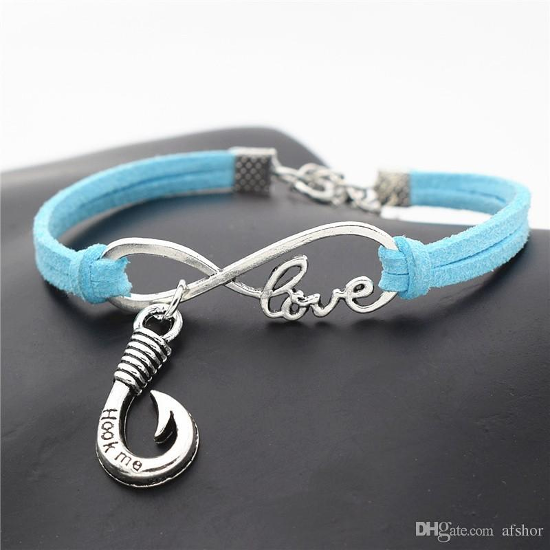 "AFSHOR New 2018 Stylish Fishing Lover Gifts Punk Antique Silver Fishhook Charms ""Hook Me"" Words Pendant Infinity Love Leather Bracelets"