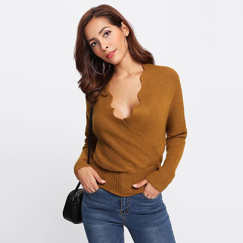 ac913e190 2019 COLROVIE Camel Wrap Basic Rib Sweater Pullover Deep V Neck ...