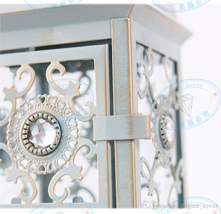 Vintage Morrocan Iron Hanging Tealight Holder w/ Brushed Golden European Metal Glass Storm Latern Romantic Wedding Candle Holder