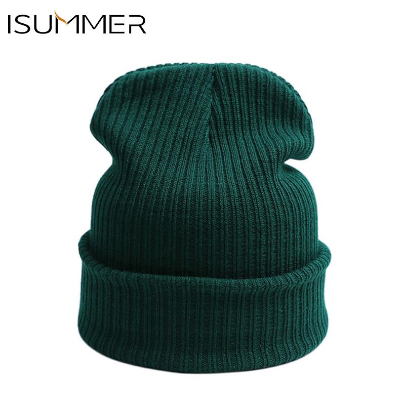 f55e94dc8a3 ISummer New Winter Hat Solid Soft Skullies Beanies Woman Men Warm ...