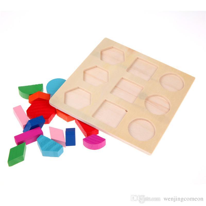 الطفل خشبية اللغز أطفال هندسة الشكل اللغز الأطفال مونتيسوري المبكر الفكري التعليمية لعب التدريب