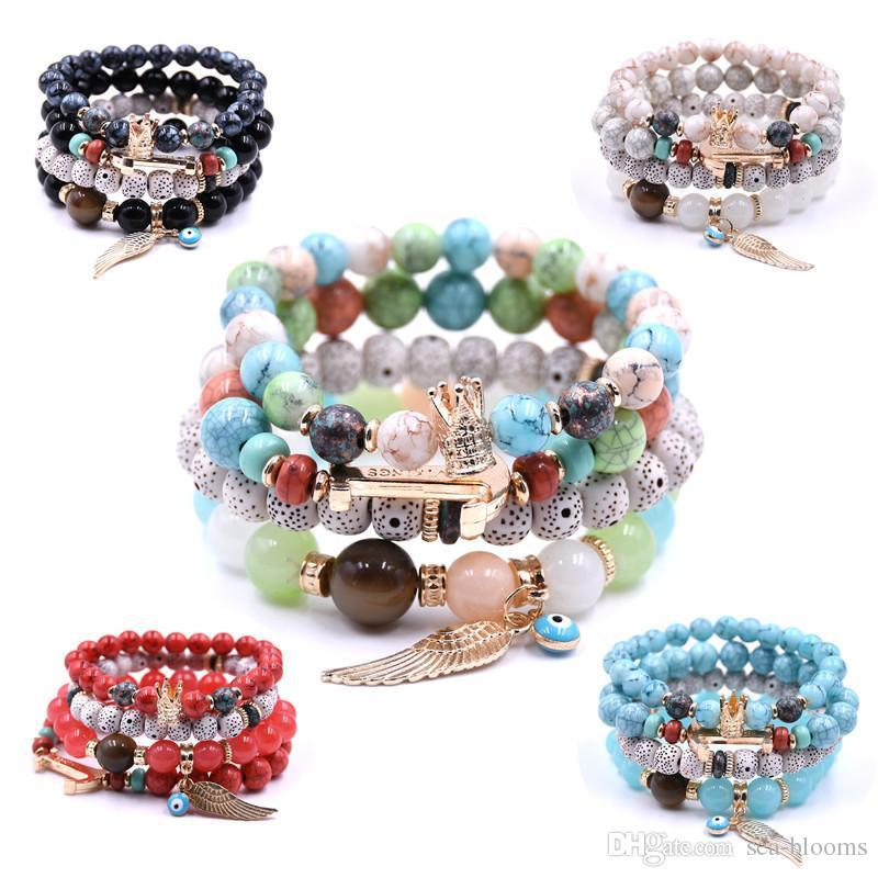 b74a45cc97 Trendy Natural Stone Multilayer Wing Crown Pendant Bracelet DIY Beads Charm  Turquoise Bangle For Women S Jewelry Wholesale G118SF Silver Charms For ...