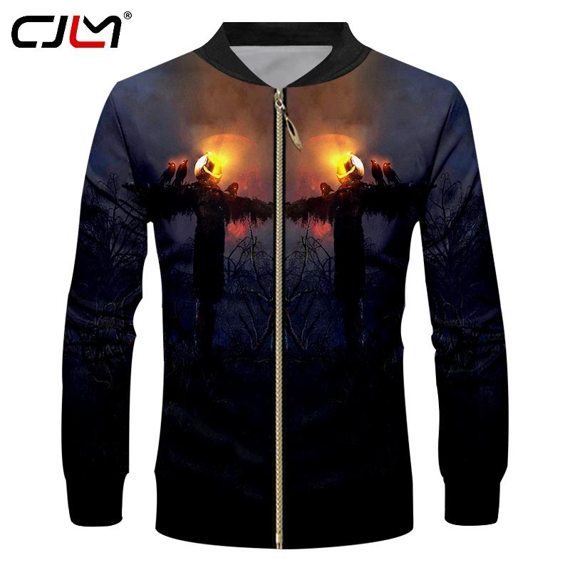 864cb33a07493 CJLM Halloween Pumpkin Zip Jacket 3D Printed Flame Scarecrow Men's ...