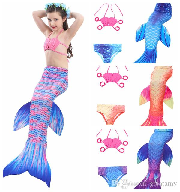 34274a7846165 2019 Hotsale Top Quality Girls Mermaid Swimsuit Big Children S Mermaid Tail  Swimwear Three Set Baby Girls  Bathing Suit Kids Beach Wear DHL Ship From  ...