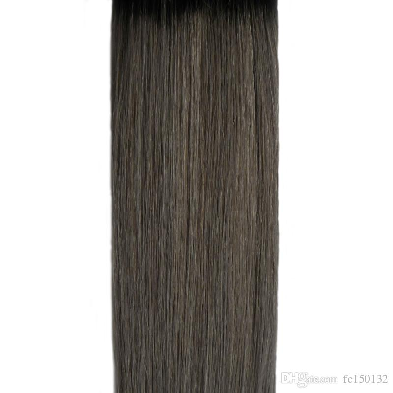 1B grey Color tape in human hair extensions 100G Brazilian Straight Hair PU Ombre Skin Weft tape hair T1B/grey