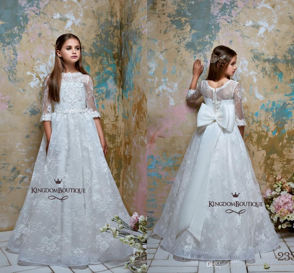 6850a08572 2019 Princess White Long Sleeves Flower Girl Dresses Full Lace A Line Tulle  Floor Length Girls Pageant Birthday Party Wear Custom Made Pink Flower Girl  ...