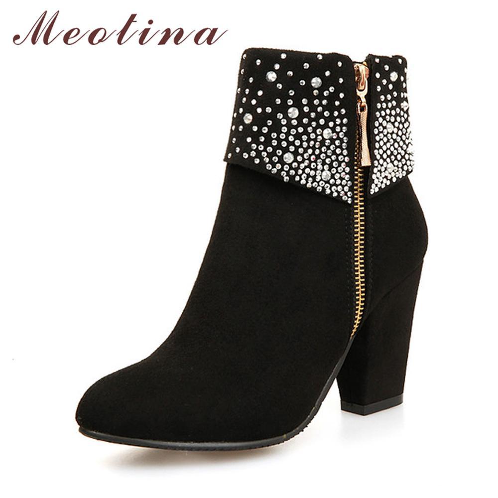 142259024 Compre Meotina Inverno Mulheres Botas De Moda De Salto Alto Botas De  Cristal Outono Tornozelo Para As Mulheres Sapatos Azul Vermelho Tamanho  Grande 9 42 43 ...
