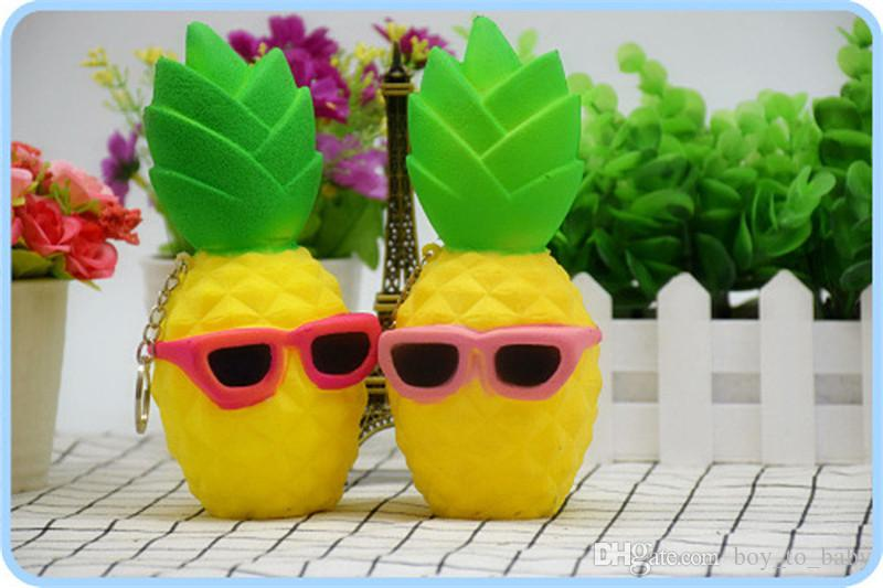2017 Pineapple Squishy Sunglasses Decompression Jumbo Scented Simulation Squishies Decoration Kids Toy Glasses Squeeze Gift