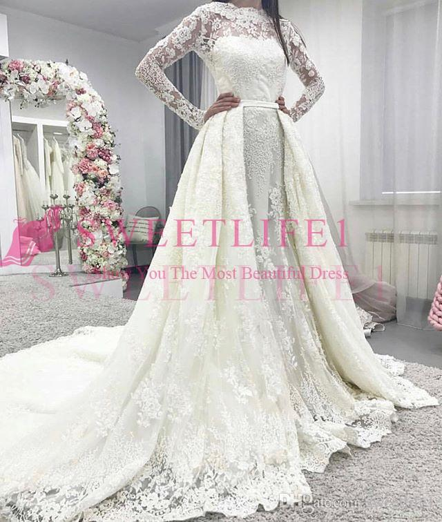 4287e30c57a Discount 2018 Gorgeous Long Sleeve Wedding Dresses Sheer Jewel Neck Lace  Detachable Train Country Style Bridal Gown Custom Made Black And White  Wedding ...