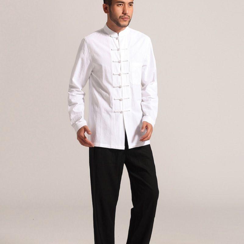 Compre Ropa Tradicional China Kung Fu Ropa Cheongsam Camisa De Manga Larga Para  Hombre Traje Tang Chino Para Hombre Top Hombre Masculino A  30.87 Del  Stripe ... 560e00369d4f