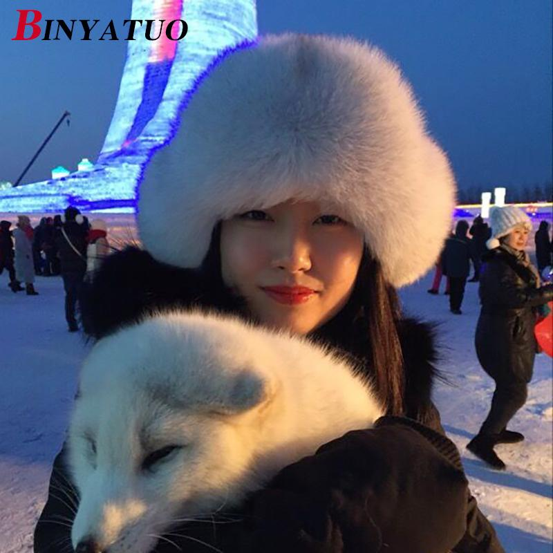 100% Real Fox Fur Hat Russian Ushanka Hats Winter Thick Warm Ears Fashion  Bomber Cap Black Travel Skiing Hats UK 2019 From Hiramee c16bafcca04