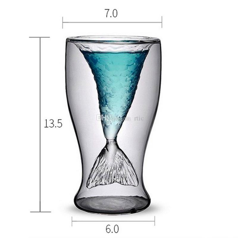 Novelty Crystal Double Wall Transparent Mermaid Shot Glass Borrelglas Heat-proof Mermaid Cup Cocktail Wine Glass Bar Party Cup
