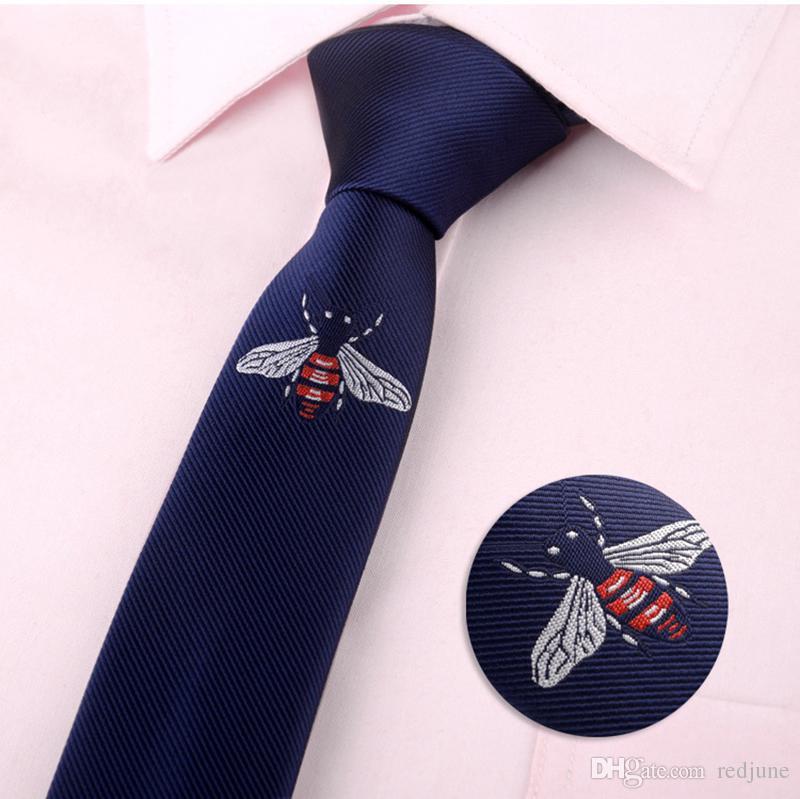 패션 망 클래식 만화 동물 꿀벌 나비 수염 빗자루 폴리 에스터 목 넥타이 자수 검은 캐주얼 타이